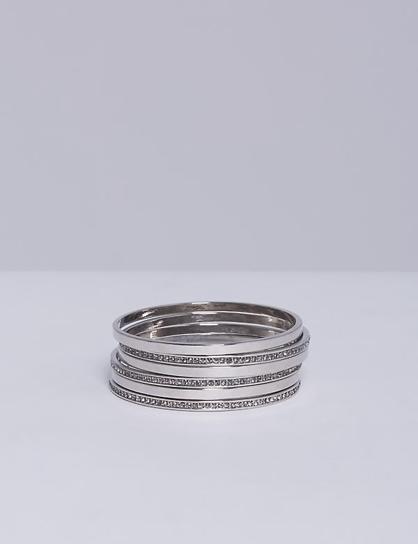 6-Row Smoke Stone Bangle Set