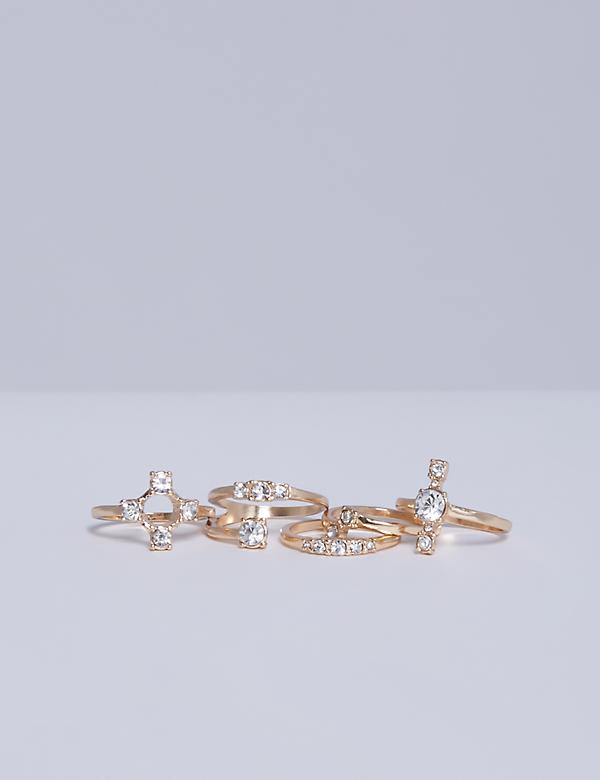 6-Stack Gold Tone Ring Set