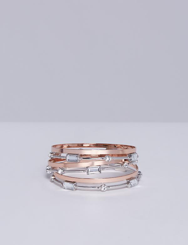 6-Row Duo Tone Bangle Set
