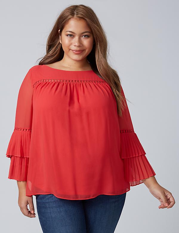 Blouse with Tiered Pleated Sleeves