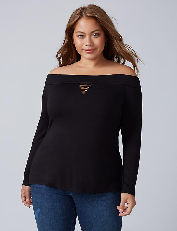 Off-the-Shoulder Top with Strappy Keyhole