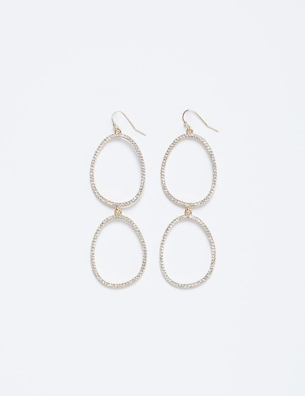 Double Oval CZ Drop Earrings