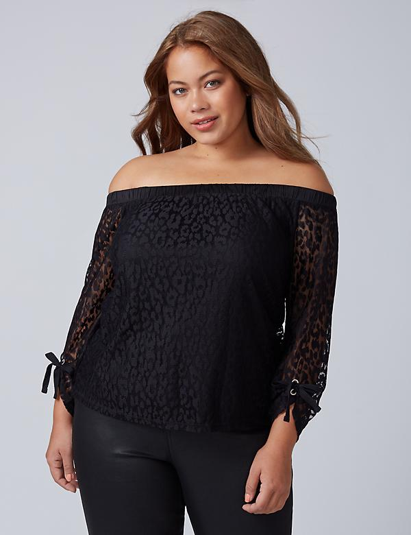 Off-the-Shoulder Animal Lace Top