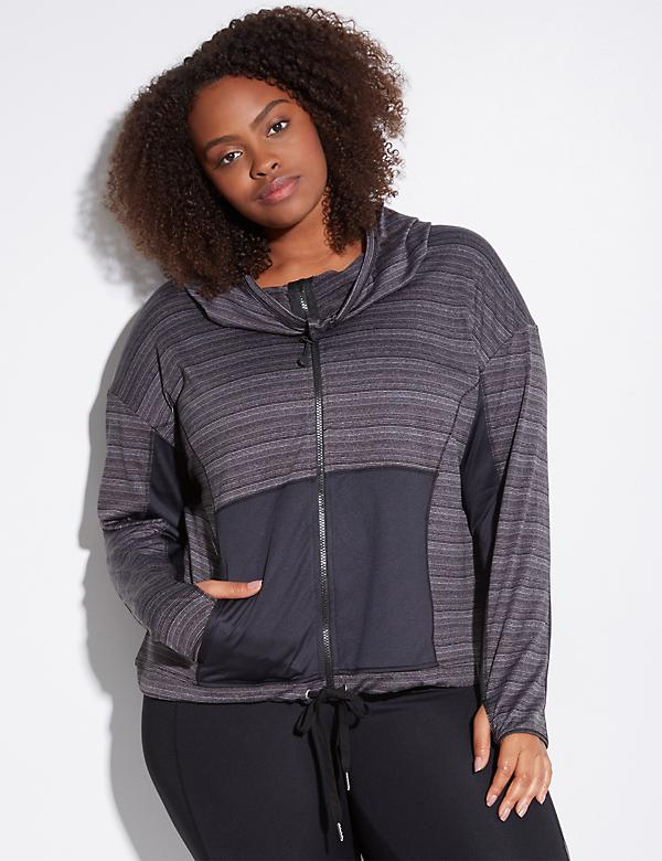 Striped Marl Active Jacket with Hood