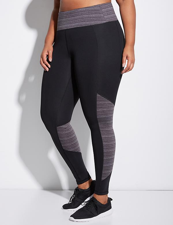 Sculpting Active Legging with Striped Marl Splicing