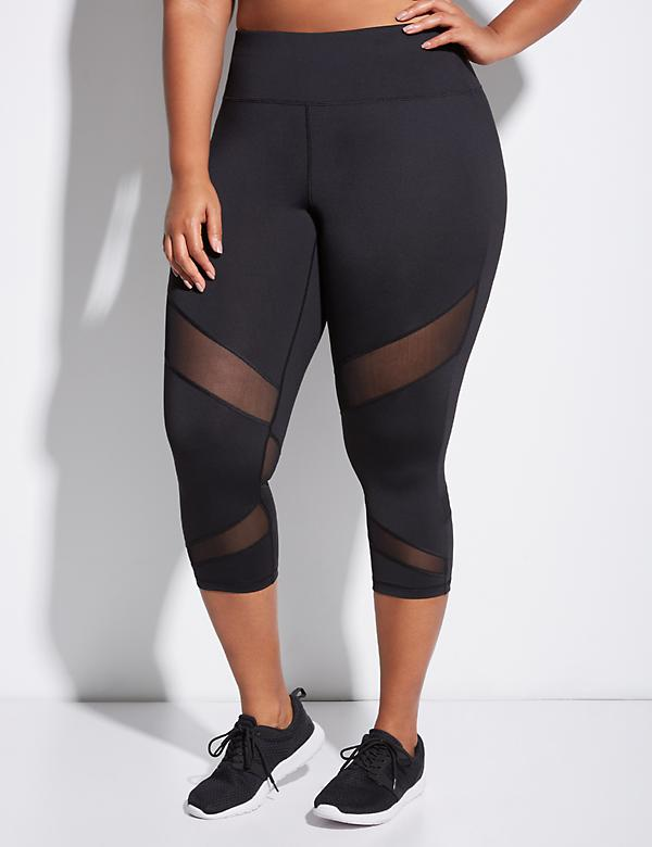 Wicking Active Capri Legging with Mesh Splicing