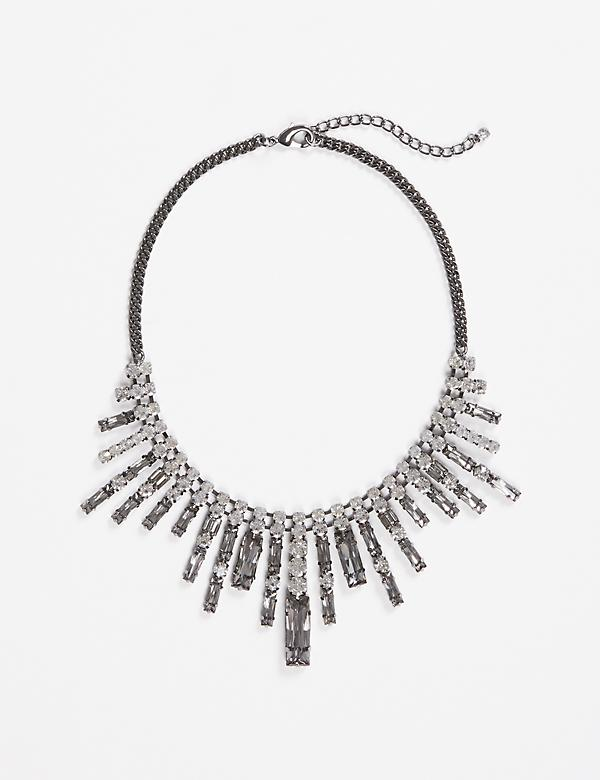 Short Statement Necklace with Baguette Stones