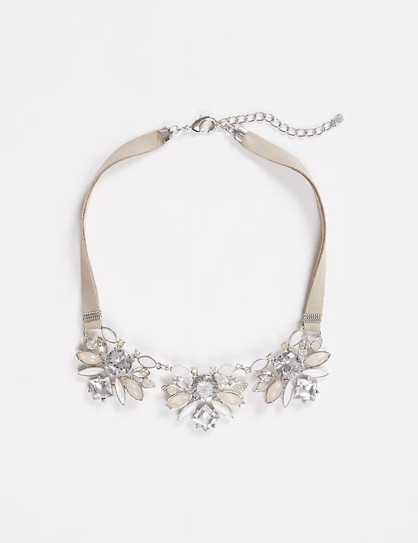 Short Faux Suede Statement Necklace