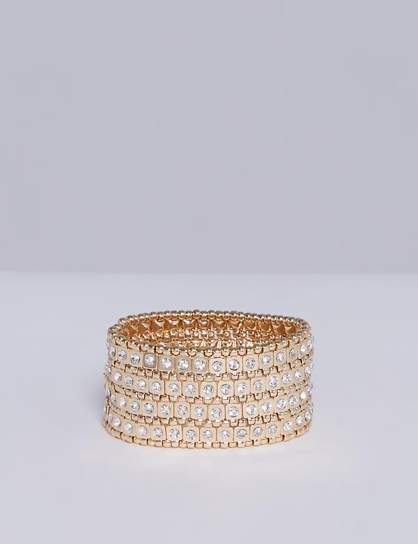 Square Bead Stretch Bracelet with CZ
