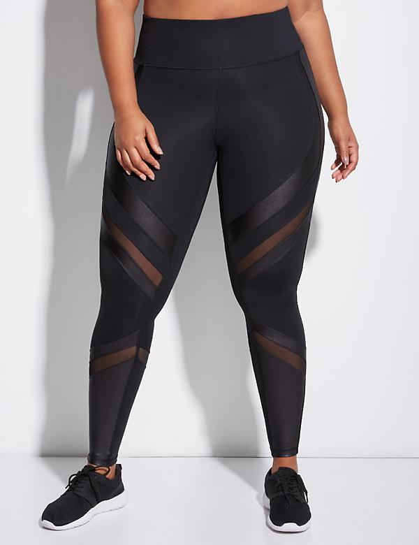 Sculpting Active Legging with Chintz & Mesh Splicing