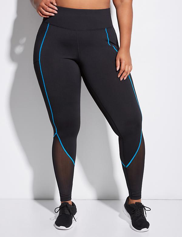 Wicking Active Legging with Mesh & Contrast Stitching