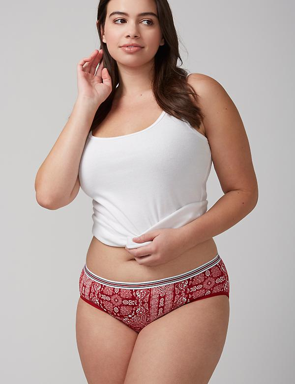 No-Show Hipster Panty with Striped Waistband
