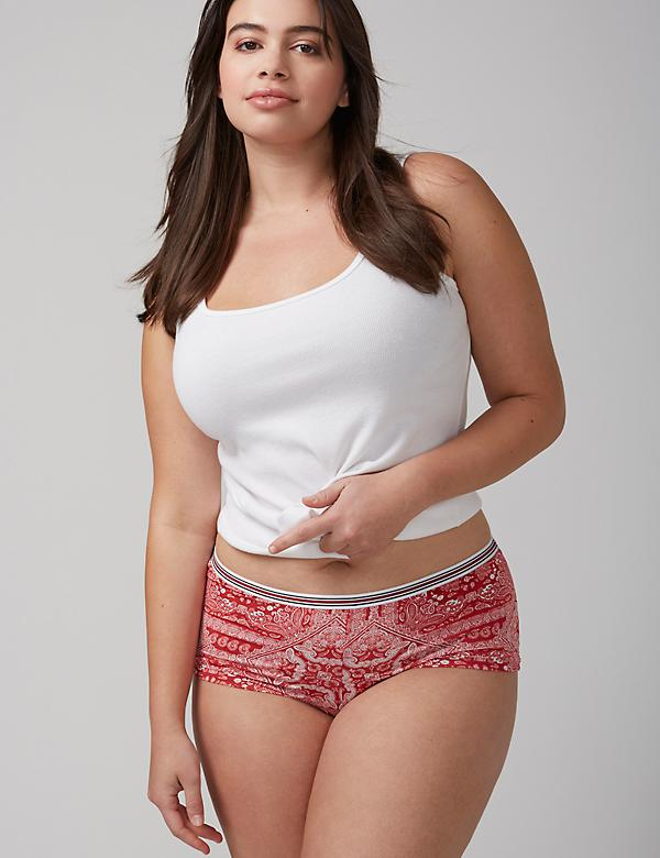 No-Show Boyshort Panty with Striped Waistband