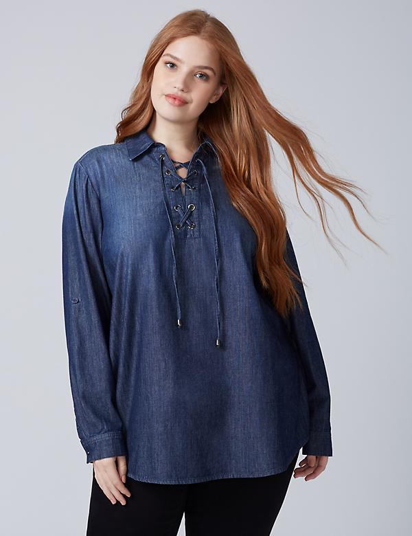 Chambray Lace-Up Tunic