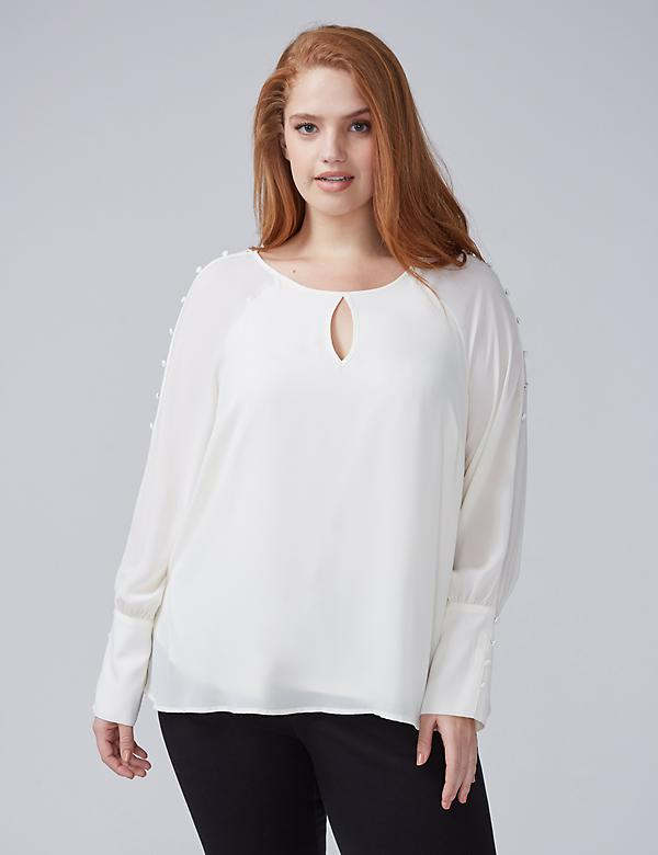 Button-Sleeve Blouse