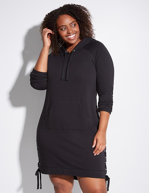 French Terry Active Dress with Lace-Up Sides