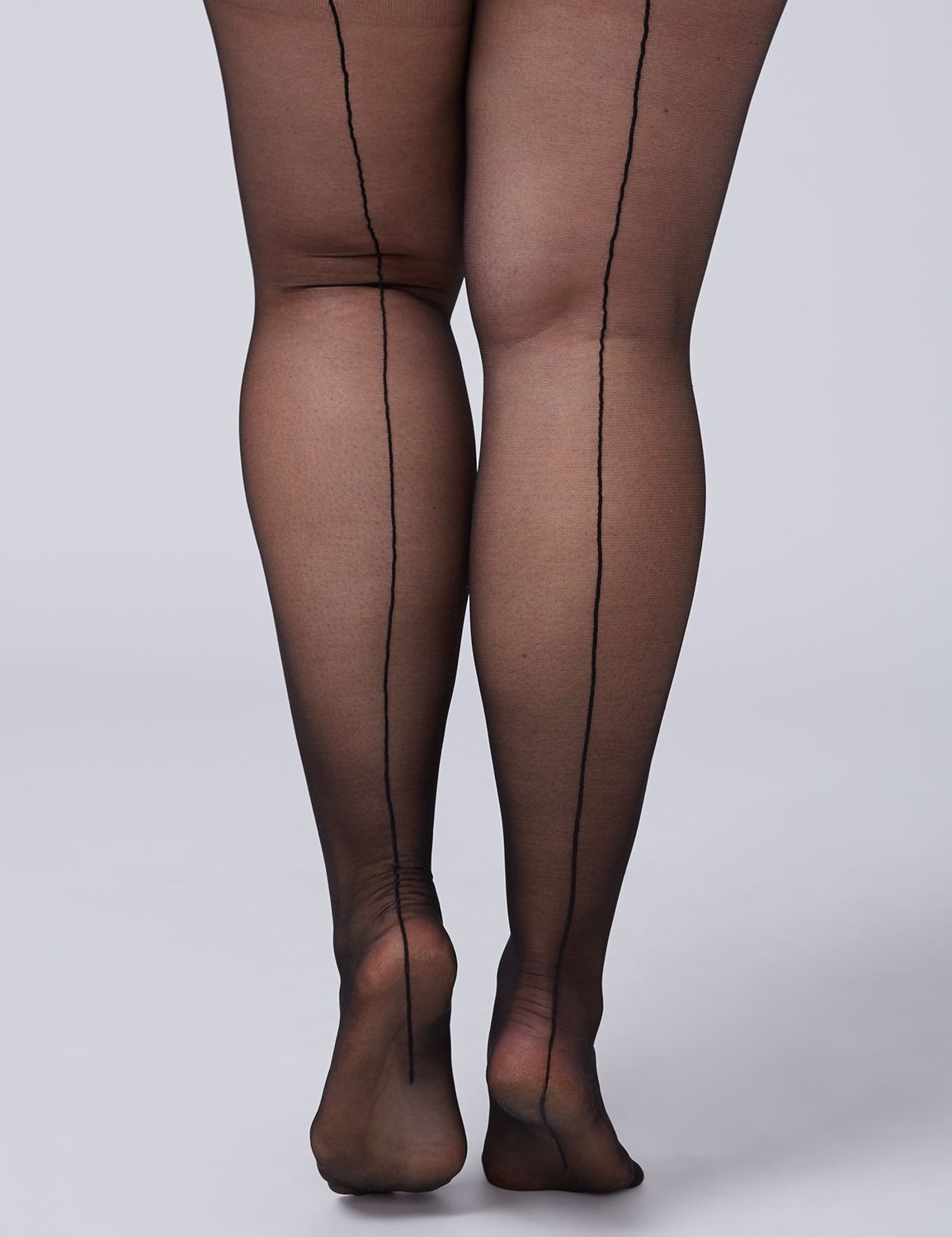 Seamed Stockings, Nylons, Tights Lane Bryant Womens Sheer High-Waist Shaping Tights With Backseam E-F Black $19.95 AT vintagedancer.com