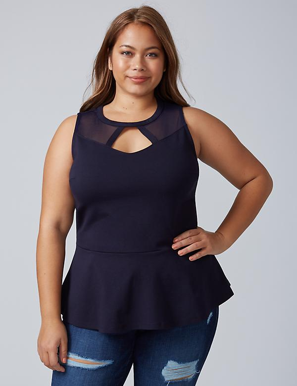 Ponte Peplum Top with Cutout Mesh Yoke
