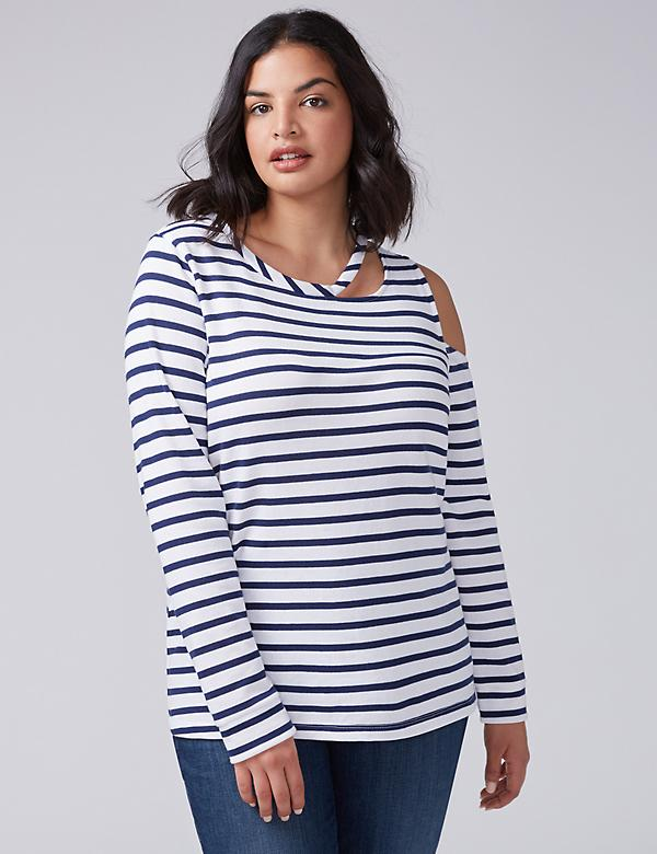 Striped Sweatshirt with Cutouts