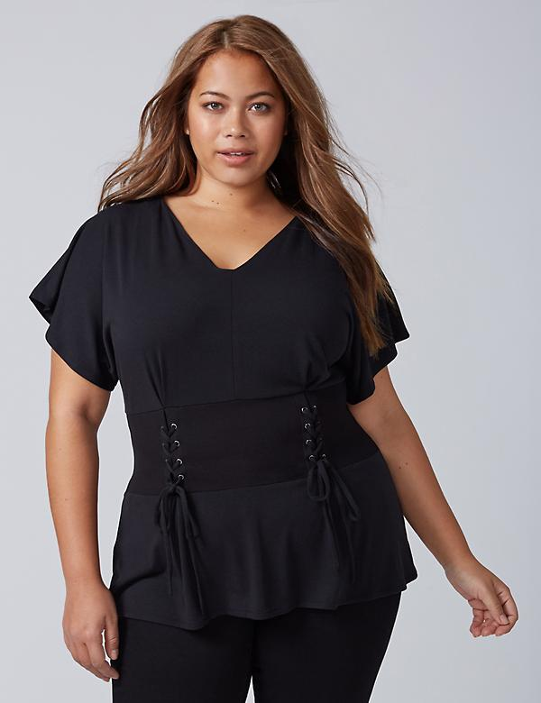 Flutter-Sleeve Top with Corset Waist