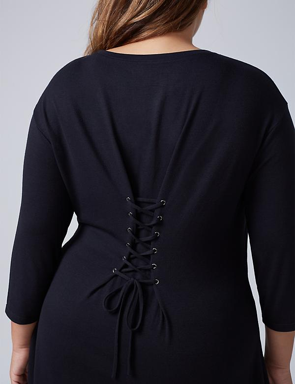 3/4 Sleeve Top with Corset-Back