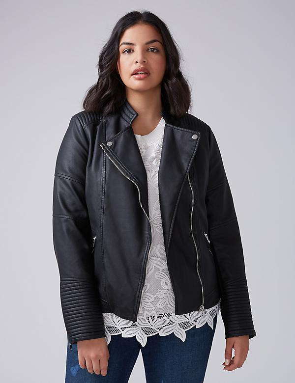 Seamed Faux Leather Moto Jacket