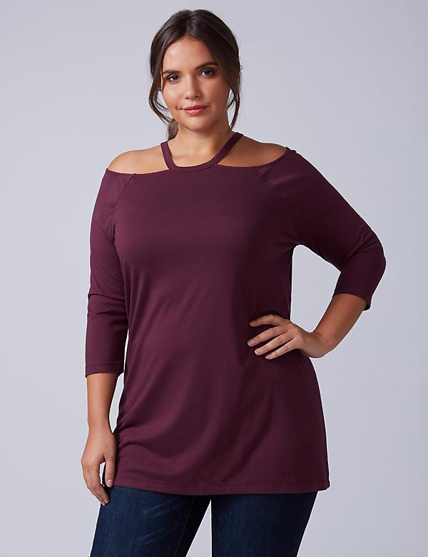 Cold-Shoulder Release Neck Tee