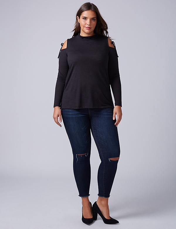 Cold-Shoulder Mock-Neck Top