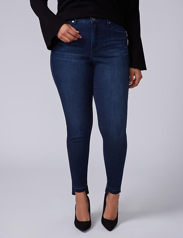 Super Stretch Skinny Jean with Power Pockets - Silver Lake Dark Wash with Step Hem
