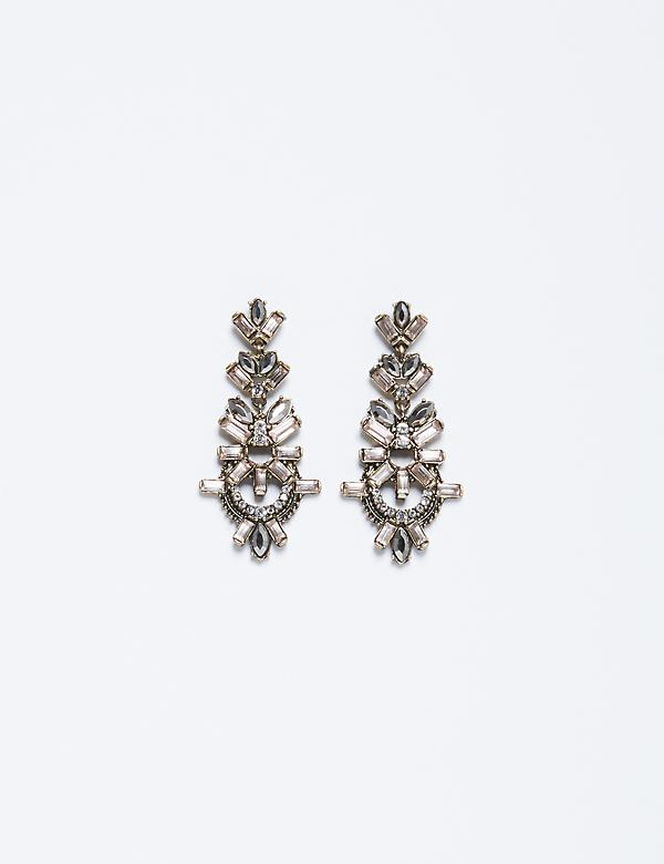 Long Drop Stone Statement Earrings