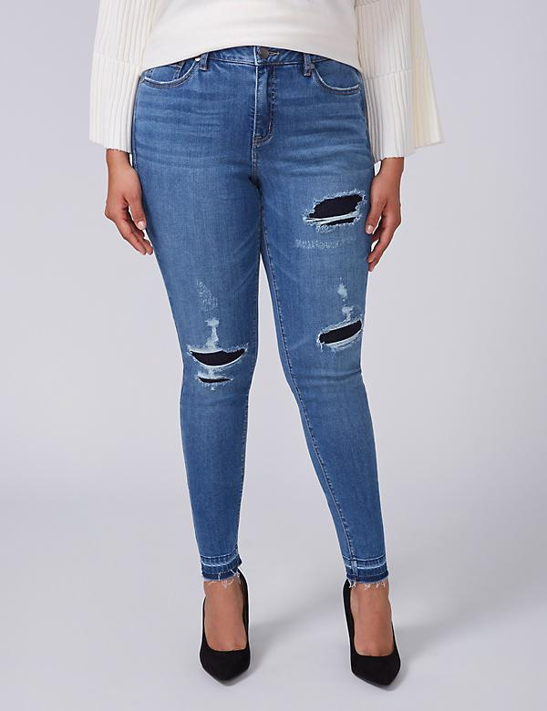 Super Stretch Skinny Jean with Power Pockets - Destructed Released-Hem