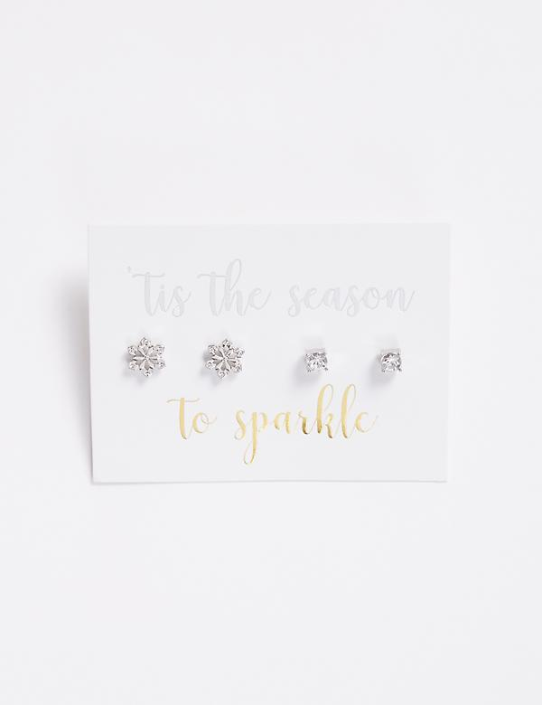 Snowflake & Stud Earrings Duo