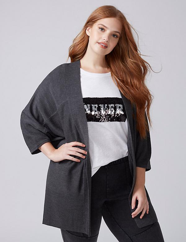 Fast Lane 3/4-Sleeve Open Cardigan