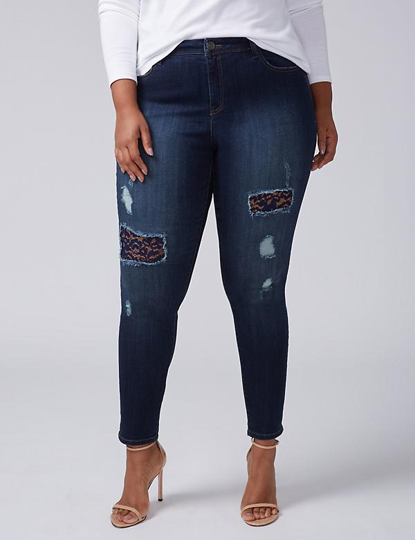 Super Stretch Skinny Jean - Lace-Backed Destruction