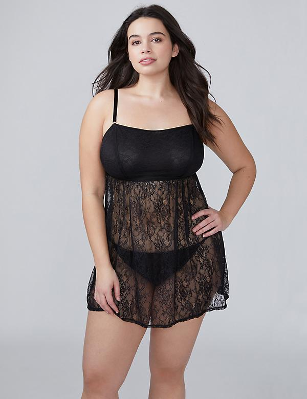 Lace Unlined No-Wire Babydoll with Goldtone Hardware