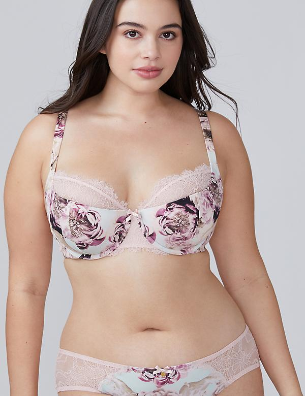 Floral Print Lightly Lined French Balconette Bra
