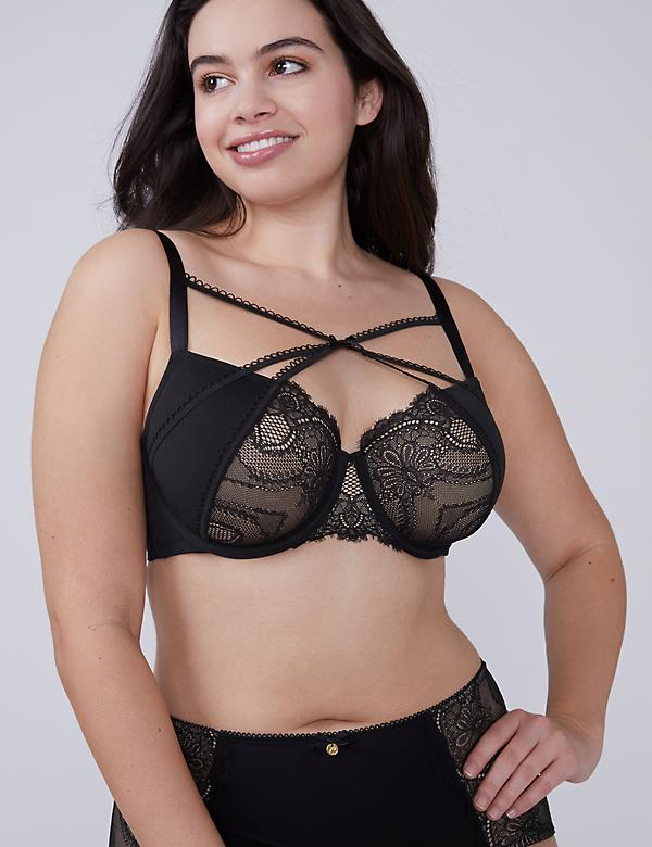 Lightly Lined Balconette Bra with Eyelash Lace & Picot Straps