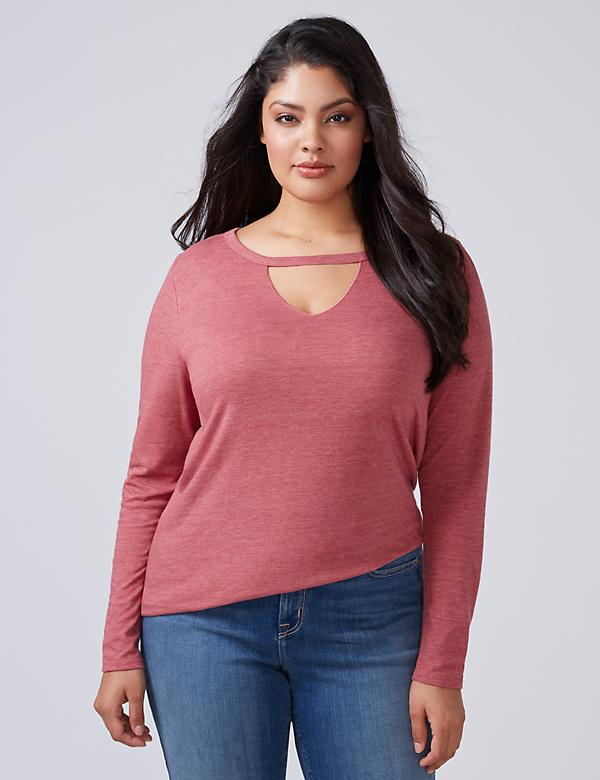 Long-Sleeve Choker V-Neck Tee