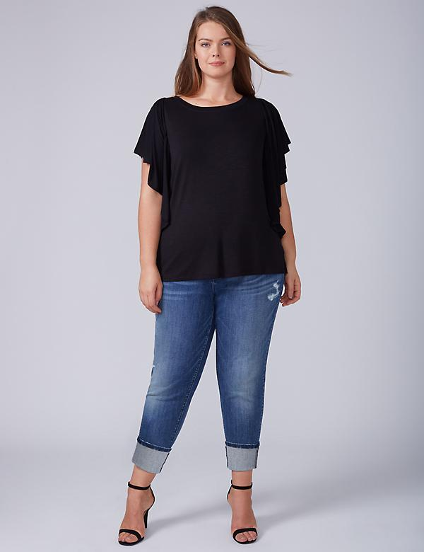Wide-Cuff Straight Crop Jean