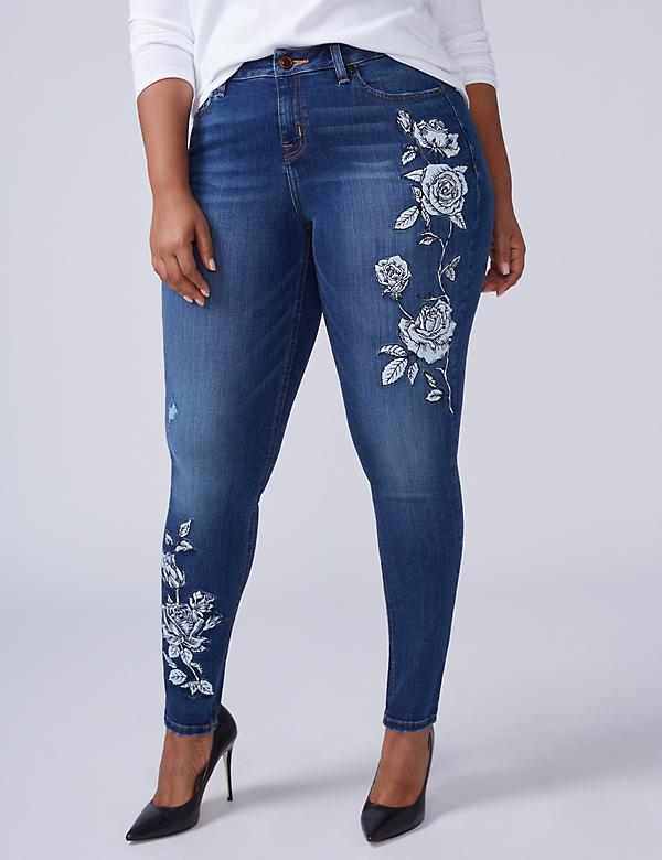 Super Stretch Skinny Jean - Floral Embroidery