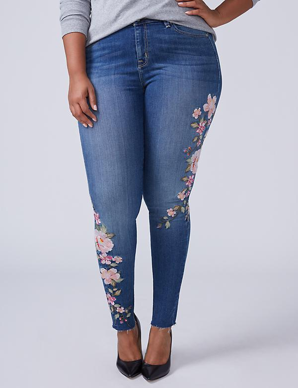 Super Stretch Skinny Jean - Rose Embroidery & Raw Hem
