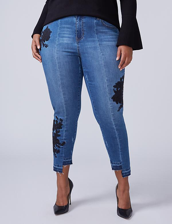 Super Stretch Skinny Jean - Black Floral Embroidery