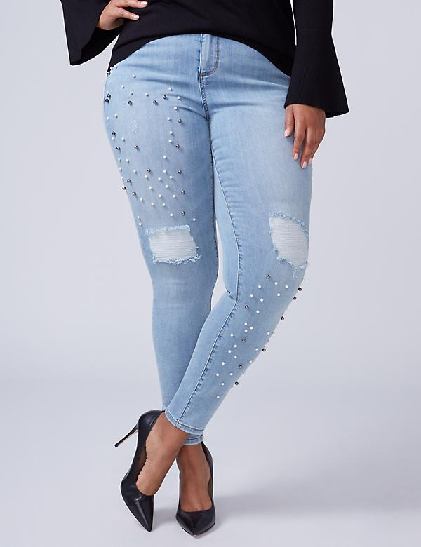 Super Stretch Skinny Jean - Faux Pearls