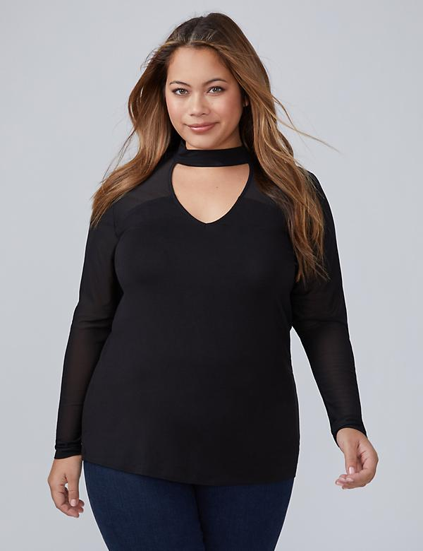 Sheer Mock-Neck Top