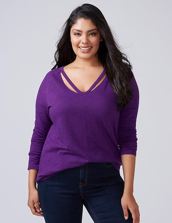 Long-Sleeve Tee with Slitted Neckline