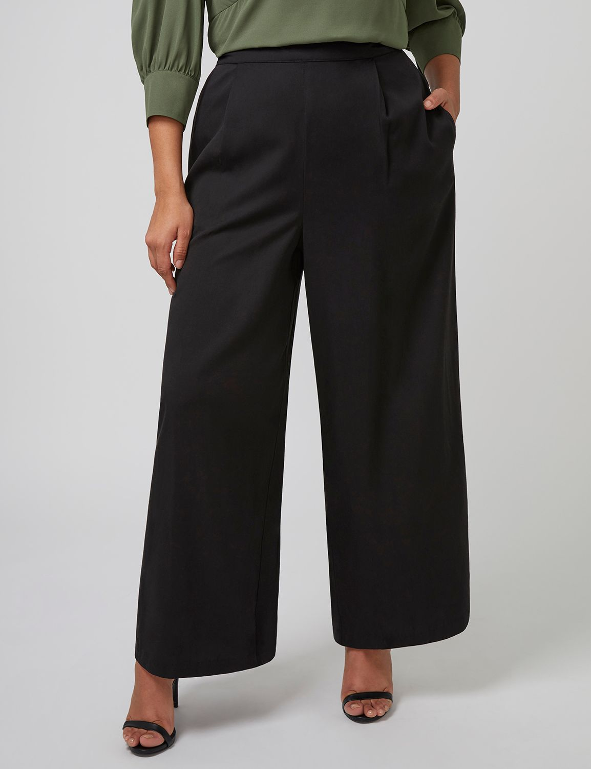 Vintage High Waisted Trousers, Sailor Pants, Jeans Lane Bryant Womens Fast Lane Wide-Leg Pant With Scalloped Detail 20 Pitch Black $79.95 AT vintagedancer.com