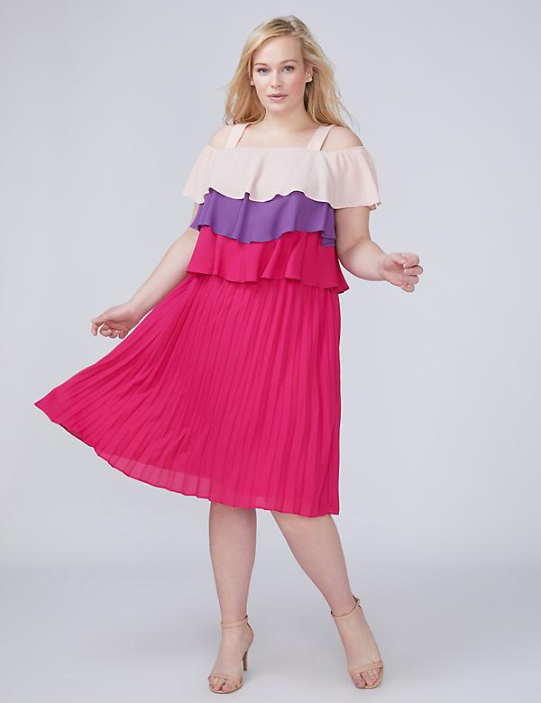 Fast Lane Off-the-Shoulder Tiered Pleated Midi Dress