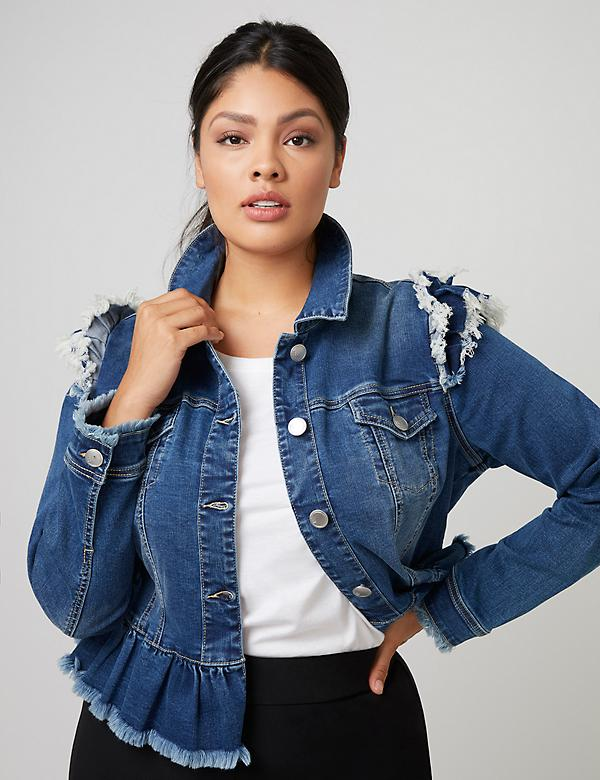 Fast Lane Ruffle-Shoulder & Peplum Denim Jacket