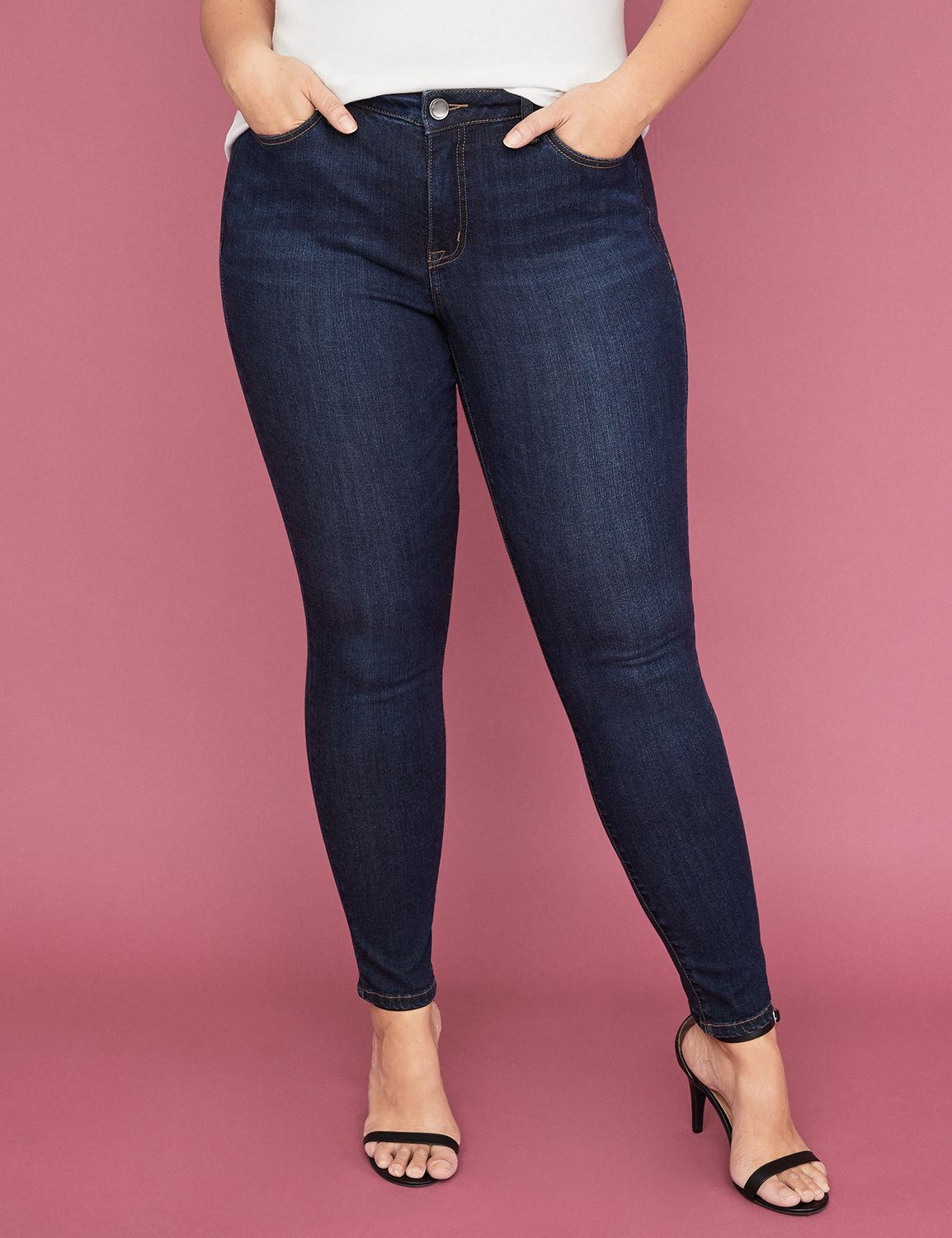 Power Pockets Super Stretch Skinny Ankle Jean - Dark Wash