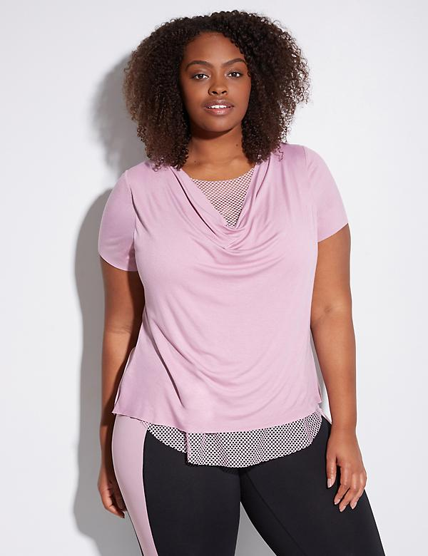 Drape-Neck Active Tee with Mesh